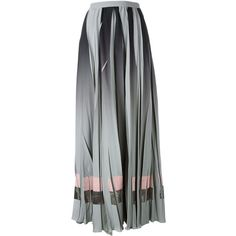 Golden Goose Deluxe Brand pleated maxi skirt ($820) ❤ liked on Polyvore featuring skirts, grey, high waist long maxi skirt, long pleated skirt, high-waisted maxi skirt, high waisted long skirt and striped maxi skirts