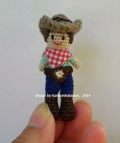 miniature  crochet  doll -- cowboy