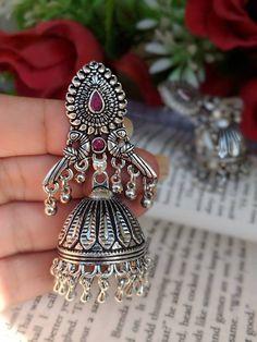 Indian Jewelery traditional Jewelery earrings German Silver jhumkas Metal Jewelry, Jewelry Art, Silver Jewelry, Unique Jewelry, Jewelry Bracelets, Gold And Silver Rings, 925 Silver, Oxidized Silver, Silver Jhumkas