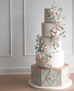 "3,528 Likes, 100 Comments - A. Elizabeth Cakes (@aelizabethcakes) on Instagram: ""I just love how the softeness of this cake is in contrast with crisp lines and geometric accents.…"""
