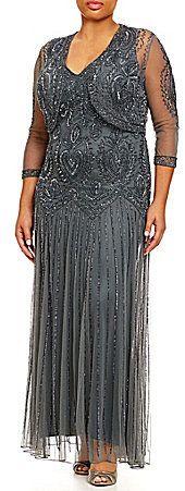 "Pisarro Nights Plus Beaded Jacket Dress, blue, blau, Plus Size Dresses #plussize #dresses #dress #kleider #kleid #fashion #mode #lifestyle #trendy - ""Grössere Grössen"". Atemberaubende Abendkleider. Amazing dresses for the evening, for cocktail partys..."
