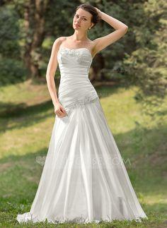 Wedding Dresses - $182.99 - A-Line/Princess Sweetheart Sweep Train Charmeuse Wedding Dress With Ruffle Lace Beading Sequins (002011634) http://jjshouse.com/A-Line-Princess-Sweetheart-Sweep-Train-Charmeuse-Wedding-Dress-With-Ruffle-Lace-Beading-Sequins-002011634-g11634