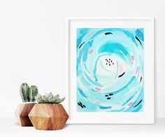 abstract acrylic painting on paper - original modern wall art - aqua art - frameable art by melissamaryjenkins on Etsy