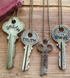 Inspirational Word Stamped Vintage Key Necklace by Woodenhive on Scoutmob Key Jewelry, Stamped Jewelry, Jewelry Crafts, Jewelry Making, Jewelry Stamping, Recycled Jewelry, Handmade Jewelry, Recycled Art, Old Key Crafts
