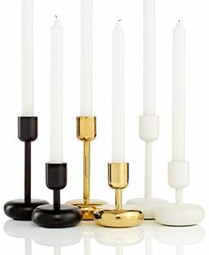 -- the gold ones for my coffee table. -- Iittala Lighting, Nappula Candleholder Collection - Candles & Home Fragrance - for the home - Macy's Gold Bathroom Accessories, Home Accessories, Modern Candle Holders, Glass Museum, Chandelier Lamp, Chandeliers, Lassi, Scandinavian Home, Simple Elegance