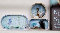 Who wouldn't like one of these aquariums How to: ·Old can (from sardines or tuna) ·A printed map ·Small homemade paper-fish, octopus or sea-horse ·A lot of goodies from the beach. Cute Crafts, Crafts To Make, Diy Crafts, Diy For Kids, Cool Kids, Hobbies And Crafts, Arts And Crafts, Ocean Diorama, Paper Fish