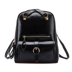 Tinksky® Vintage Retro Shoulders Bag Girl's Student Backpack School Bag (Black)