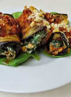 Low FODMAP Recipe and Gluten Free Recipe - Stuffed eggplant rolls http://www.ibssano.com/low_fodmap_recipe_stuffed_eggplant_rolls.html