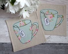 Fabric coasters - Set of 2 Floral Mug Coasters - Country Chic Style £14.00