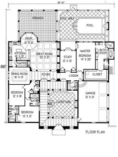 Plan #1-1276. Spanish style home with a living S.F. of 3190 (5591 S.F. Total), 3 full baths and 1 half baths. 1 story home, 81' wide, and 86' deep.