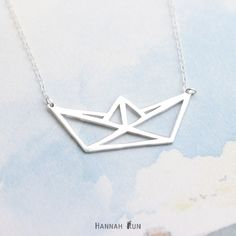 Paper boat NecklaceOrigami necklace minimalist by HannahRun