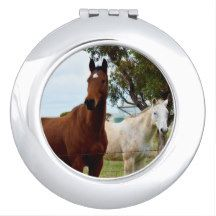 Two_Attractive_Horses_Ladies_Compact_Mirror. Makeup Mirrors
