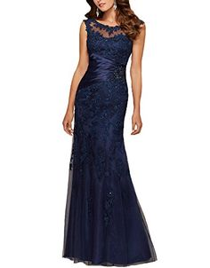 b9a43e6caa8 Ankang Women s Cap Sleeve Applique Formal Prom Dress Long Mother of the Bride  Dress Navy Blue