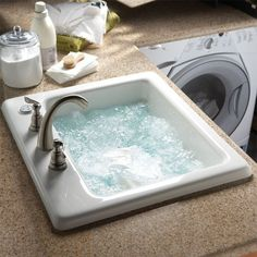 "The Air Jet Laundry Basin comes complete with an air bath system, and can clean delicate fabrics with gentle and effervescent bubbles.  Multi-purpose laundry basin. Air jet cleaning system. Electronic control. Variable speed blower with timer. Acrylic. 22"" d x 25"" w x 12""h/  Basin Depth: 22"" 48 lbs!"