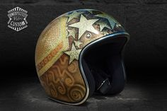 "Open face helmet ""Gold Stars n°1""Unexpected Custom - Fine Arts Unlimited... for Bikers"