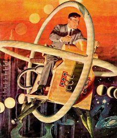 Our Future Commute Vintage Future - Retro Futurism - Vintage Sci Fi - Atomic Age - Space Age / flying car