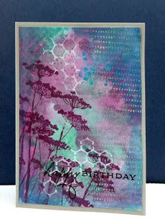 Such a pretty handmade card with blues and purples. Distress inks, Unity stamp Wayword blooms, a crafters workshop template and some spatters with Twinkling Card Making Inspiration, Making Ideas, Distress Ink Techniques, Tim Holtz Distress Ink, Karten Diy, Unity Stamps, Scrapbook Cards, Scrapbooking, Card Making Techniques