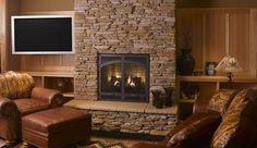 Eldorado Stone - Inspiration for Stone Veneer Fireplaces, Stone . Stone Veneer Fireplace, Stone Fireplace Designs, Stone Fireplace Surround, Stacked Stone Fireplaces, Rock Fireplaces, Living Room With Fireplace, Fireplace Mantels, Fireplace Ideas, Basement Fireplace