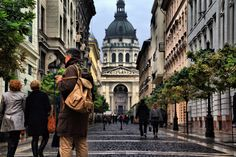 Zrínyi street with the St. Stephen Basilica at the end. #Budapest #Hungary #travel