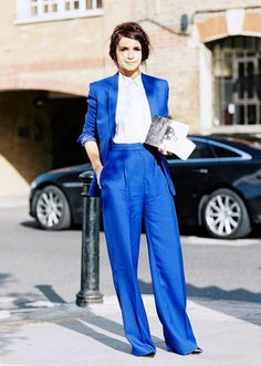 Be bold like Miroslava Duma in a bright blue matching suit.