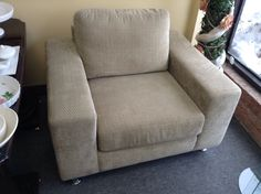 Lounge Chair - Perfect condition lounge chair with a very neutral fabric.   Item 120-253.  Price $250.00   - http://takeitorleaveit.co/2015/02/08/lounge-chair-2/