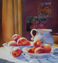 still life watercolor paintings | PEACHES AND CREAM (SOLD) watercolor still life painting