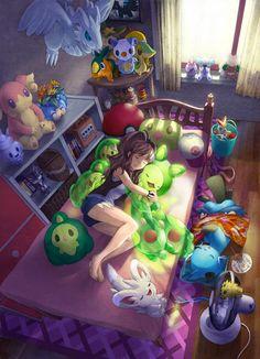 /Pokémon/#801308 - Zerochan -This would totally be me if Pokemon were real!!