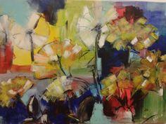 Paardebloemen,  acryl Diana Mol