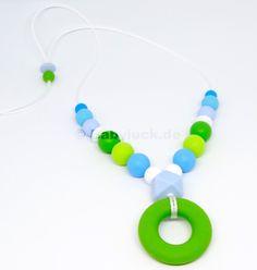 "Stillkette ""Sonja"" Aqua Collection   Babyluck.de Der Arm, Washer Necklace, Aqua, Jewelry, Food Grade, Fine Motor, Beads, Products, Wristlets"