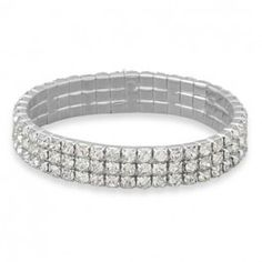 3 Row Crystal Fashion Stretch Bracelet
