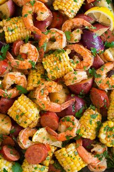 Shrimp Boil - A Southern favorite that includes tender shrimp, hearty potatoes, flavorful sausage, and sweet corn all boiled together in one big pot. An easy, delicious classic! #shrimpboil #southernrecipe #shrimp Seafood Recipes, Vegetarian Recipes, Healthy Recipes, Healthy Drinks, Fish Recipes, Yummy Recipes, Healthy Food, Clean Recipes, Cooking Recipes