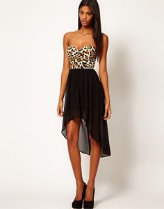 Just love this dress. Dress it up, or dress it down. Either way- so cute!  Motel Chika Bandeau Hi Lo Dress in Leopard Print