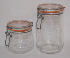 Vintage Arc France Niveau Glass Jars Canisters Wire Bale Closure 1/2 L & 1 L  #Arc