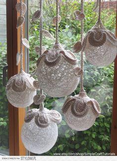 Crochet Pattern Tutorial Flower Ball Light Home Decor Decoration Lamp Decoration Shabby, Crochet Decoration, Crochet Home Decor, Crochet Crafts, Crochet Projects, Beautiful Decoration, Crochet House, Diy Crochet, Crochet Ideas