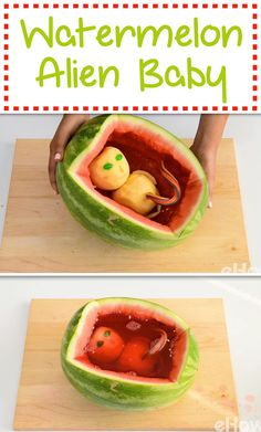 Want to really creep out your guests at your Halloween party? This alien baby in a watermelon womb will do just that! Made from apples, a watermelon and jello, this comes together in a matter of minutes, promise! Video and step by step DIY here: http://www.ehow.com/how_12343545_halloween-food-alien-baby-watermelon-womb.html?utm_source=pinterest.com&utm_medium=referral&utm_content=freestyle&utm_campaign=fanpage