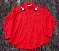 Vintage SILVER SPUR WESTERN WEAR Red Pearl Snap Button Slim Cowboy Shirt Men's L #SilverSpur #ButtonFront #Everyday