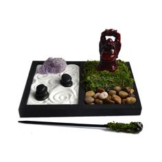 Mini Zen Garden // Laughing Buddha Statue // Desk by NeonFoxArt