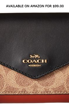 a66c5ab9a3c12 COACH Womens Color Block Coated Canvas Signature Small Wallet ◇ AVAILABLE  ON AMAZON FOR: $99.00