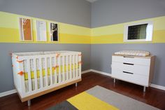 Love the idea, Maybe not grey tho  This yellow nursery is stylish and functional. #yellow #nursery