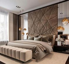 Luxury bedroom design ideas to inspire you 35 Modern Luxury Bedroom, Luxury Bedroom Design, Master Bedroom Design, Luxury Interior Design, Contemporary Bedroom, Luxurious Bedrooms, Home Decor Bedroom, Bedroom Lamps, Bedroom Ideas