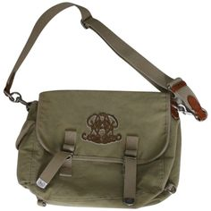 Pre-owned Ralph Lauren 510020299285 Army Green Messenger Bag ($643) ❤ liked on Polyvore featuring bags, messenger bags, army green, strap bag, genuine leather messenger bag, leather courier bag, embroidered bags and brown bag