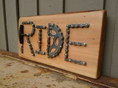 RIDE Used Bike Parts on Wood Plaque  UpCycled Gift for