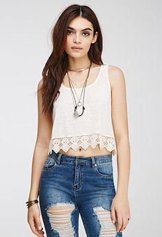 Boxy Crochet-Trimmed Top | Forever 21 - 2000080458