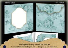 DTeal Rose Plain Fancy 7x7inch Easy Envelope Mini Kit on Craftsuprint - Add To Basket!