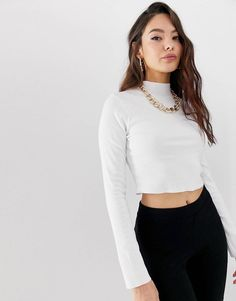 fdb8ac86eb819 DESIGN long sleeve crop top with turtle neck and raw hem in rib in white