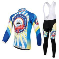 Men's Blue Shark Long Sleeve Cycling Jersey Set #Cycling #CyclingGear #CyclingJersey #CyclingJerseySet