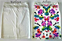 DIY Kaleidoscope Printed Skirt using Fabric Paint