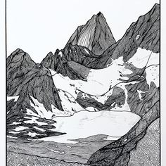 Cobalt Lake Art Print by Christa Rijneveld - X-Small Mountain Drawing, Mountain Art, Black Pen Sketches, Art Sketches, Ink Illustrations, Illustration Art, Pine Tree Art, Nature Sketch, Lake Art
