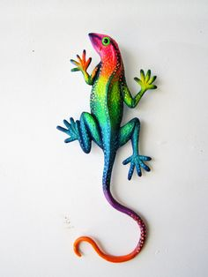 Gecko art rainbow lizard wall decor by artistJP on Etsy, $20.00