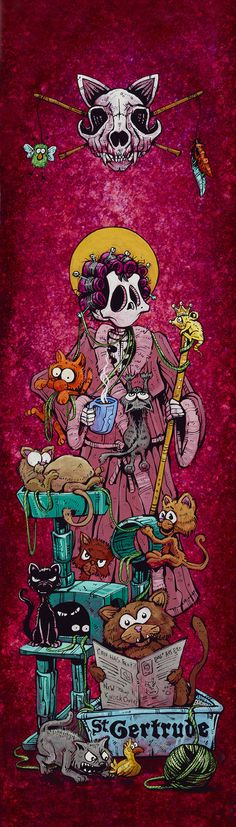 Saint Gertrude (Patron Saint of Cats) by Day of the Dead Artist David Lozeau